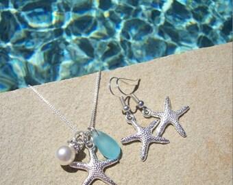STARFISH EARRINGS and NECKLACE jewelry set - Starfish Earrings, Starfish Jewelry, Starfish Necklace, Beach Earrings, Bridesmaid Earrings
