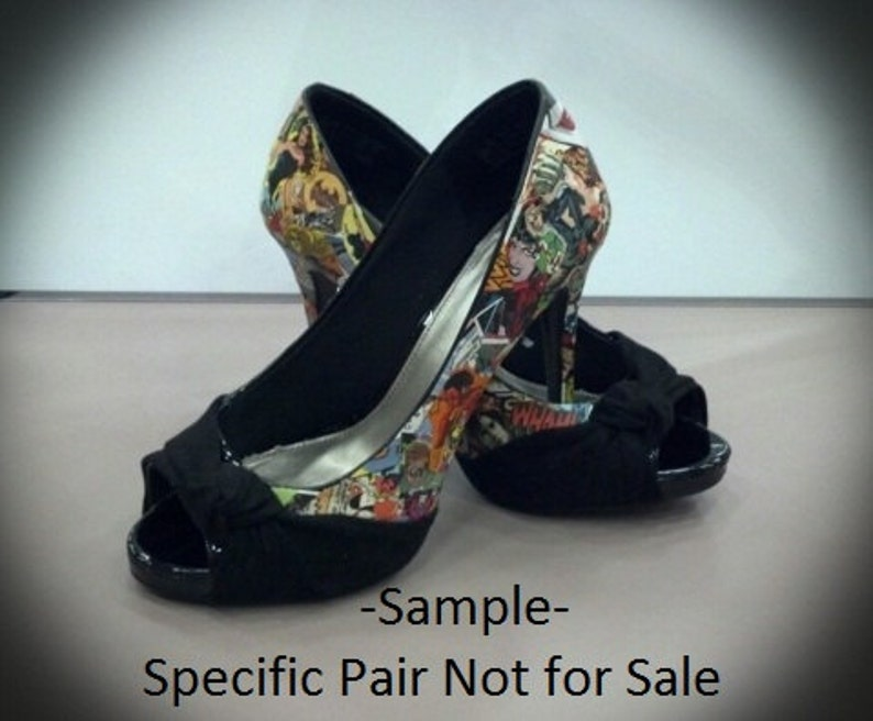 d27d2346a098 Custom Hand Decorated Comic Book Shoes
