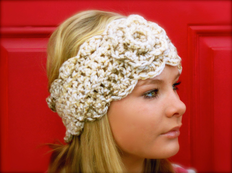 Crochet Pattern Chunky Headwarmer With Flower Pdf Crochet Etsy
