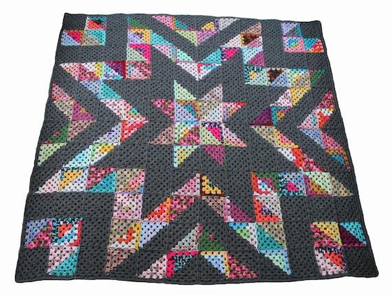 Easy Crochet Afghan Pattern Granny Star Stashbuster Crochet Etsy