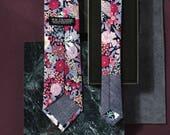 Clyde Men's Skinny Necktie Classic point-end - Floral multi chalk pink navy Neck tie