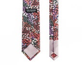 Weston Men's Skinny Necktie Classic point-end - Abstract black red mauve pink burgundy print Neck tie