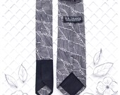 Yoshi Men's Skinny Neck Tie Classic point-end  Japanese motif black white