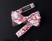 Logan Men's Bow tie - Floral tango red white bowtie