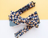 Jake Men's Bow tie - Botanical tangerine print navy orange bowtie