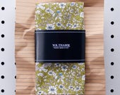 Ted Men's pocket square handkerchief - Vintage floral cocktail olive white