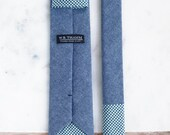 Ray Men's necktie - Classic point-end chambray blue ss15 neck tie