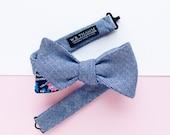 Jason Men's Bow tie - Herringbone navy bowtie