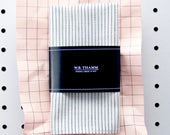 Boyd Men's pocket square handkerchief - Railroad stripe ivory white navy