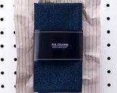 Ron Men's pocket square handkerchief - Broken stripe dark navy blue white