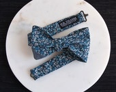 Ian Men's Bow tie - Floral blue white with dark blue chambray tip bowtie
