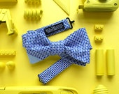 Jerry Men's Bow tie - Geo print marine blue/white with light blue chambray tip