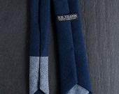 Lucas Men's Skinny Neck Tie -  Navy cotton waffle pique with dark blue denim chambray contrast