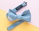 Dave Men's Bow tie - Herringbone light blue bowtie