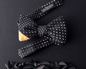 Danny Men's Bow tie - Variated dot jacquard black white bowtie