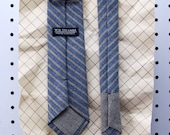 John Men's Skinny Necktie Classic point-end - Carpenter stripe brown blue Neck tie