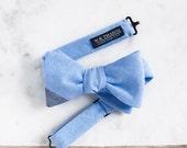 Dustin Men's Bowtie - Chambray sky blue bow tie