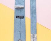 Dave Men's Skinny Necktie Classic point-end - Herringbone light blue Neck tie