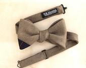William Men's Bow tie - Golden brown wool bowtie