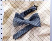 John Men's Bow tie - Carpenter stripe brown blue bowtie