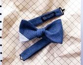 Beck Men's Bow tie - twill stripe navy bowtie