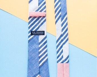 Martin Men's Skinny Necktie Classic point-end - Oversized stripe blue white cotton linen Neck tie
