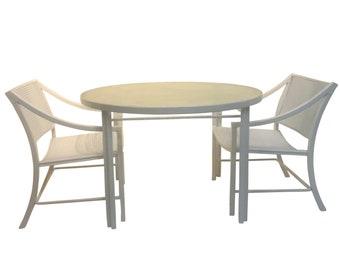 d73383361f85 Mid-Century Modern Brown Jordan Alumicane White Patio Set by Hall Bradley