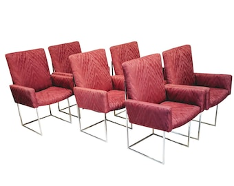 Milo Baughman for Thayer Coggin Captain Dining Chairs - Set of 6 , Mid-century Modern Burgundy Upholstery