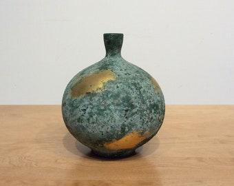 Textured Bronze and Gold Metallic Vessel Vase , Mid Century Modern Vintage