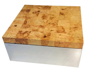 Milo Baughman Burl Wood & Mirror Chrome Cube Coffee Table , Mid-Century Modern Original