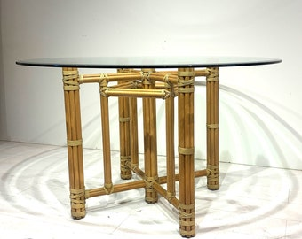 McGuire of San Francisco Round Dining Table Bamboo Rattan with Glass Top - Vintage 1970s