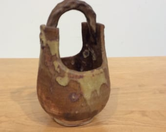 Handmade Vintage Pottery Vase, in the shape of a Chinese Water Bucket