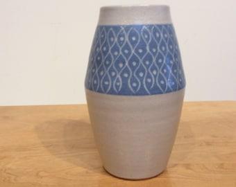 Mid Century Geometric Patterned Ceramic Vase