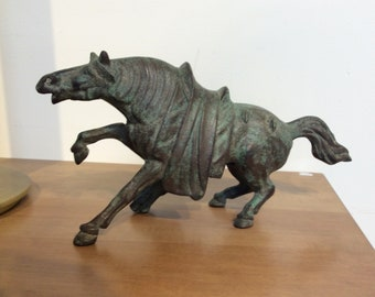 Bronze Horse Chinese Style Sculpture Statue Hollywood Regency