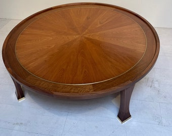 Baker Furniture Large Round Pieced Walnut Wood Coffee Table with Inlaid Brass Accents