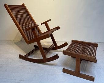 Stephen Hynson Oak Dowel Rocking Chair & Ottoman