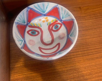 Hand Painted Italian Art Pottery Bowl with Sun Face, Signed by Giovanni de Simone