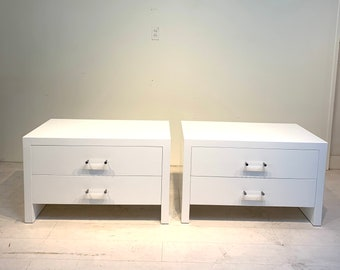 White Hollywood Regency Nightstands with Lucite Pulls - Pair , Vintage Mid Century
