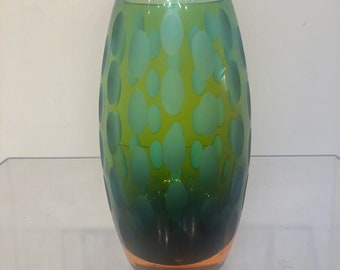 Mid Century Italian Glass Thumbprint Vase with Ombre Effect