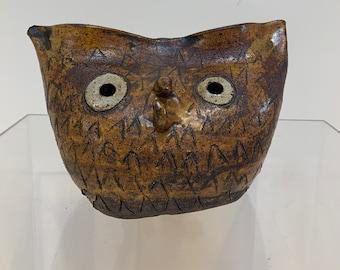 Brutalist Ceramic Owl Sculpture