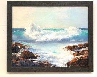 Original Oil Painting Crashing Surf Ocean Scene Art