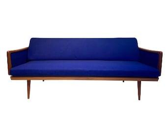Teak Sofa w/ Cane Back by Peter Hvidt and Orla Mølgaard for John Stuart - Mid-Century Danish Design
