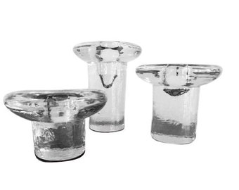 Set of 3 Blenko 877 Candleholders Mid Century Modern Art Glass