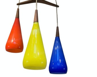 Prescolite Pendant Hanging Swag Lamp Red Yellow Blue Case Glass