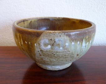 Lava Glaze Pottery Mid Century Pot in Green and Brown