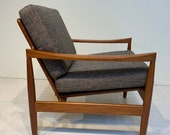 Original Mid-Century Modern Danish Solid Teak Lounge Chair by Skobvy
