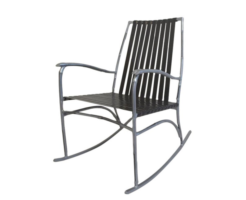 Mid Century Modern Faux Bamboo Patio Rocker image 0