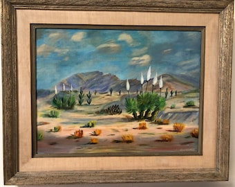 Original 1968 Southern California Desert Oil Painting, signed by artist