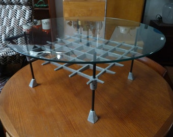 Robert Josten Coffee Table Metal and Glass Mid-Century Modern