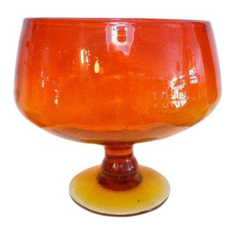 Mid-Century Blenko Amberina Tangerine Glass Chalice Compote image 0